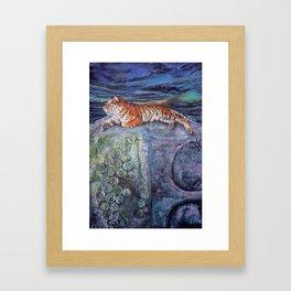 Blue - Tiger with Buddha Framed Art Print