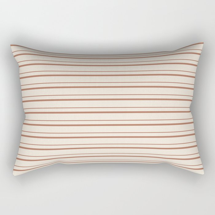 Sherwin Williams Cavern Clay Warm Terra Cotta SW 7701 Horizontal Line Patterns 3 on Creamy Off White Rectangular Pillow