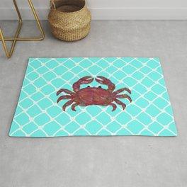 Kaleidoscope Crab and White Netting on Turquoise Background Rug