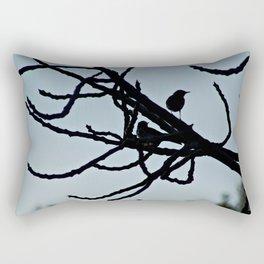 Sparrows Silhouette Birds Tree Bare Branches Rectangular Pillow