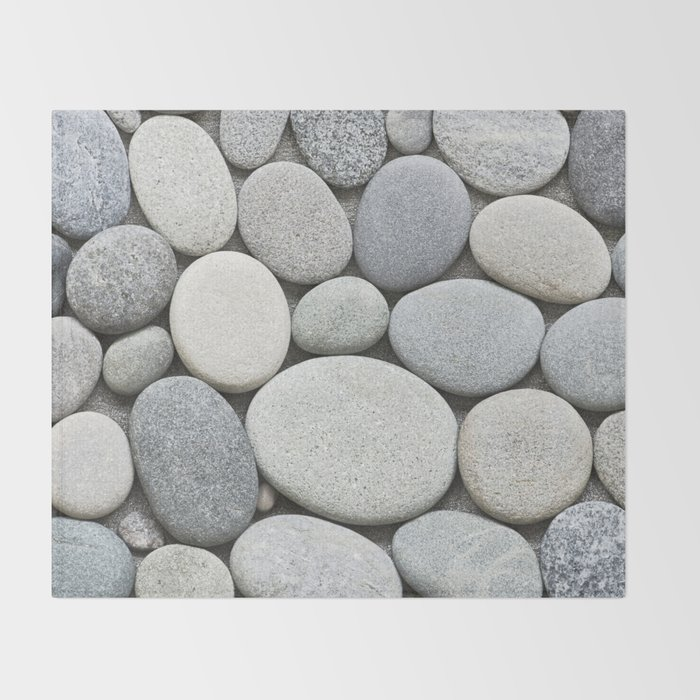 Grey Beige Smooth Pebble Collection Throw Blanket