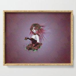 Sugar skull girl in purple Serving Tray