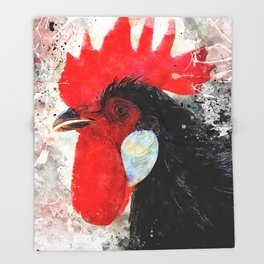 Rooster art #rooster #animals Throw Blanket