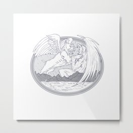 American Bully Fighting Demon Drawing Metal Print