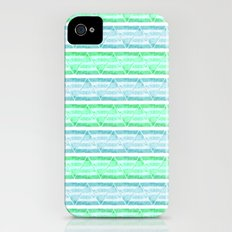 blue&green stripes Slim Case iPhone (4, 4s)