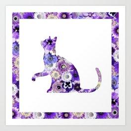 The Flowers Cat Art Print
