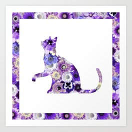 The Flowers Cat Art Print
