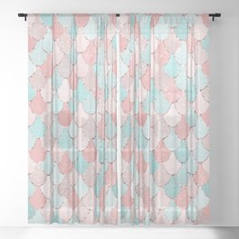 Mermaid Coral, Rose Gold, Pastel Pink, Aqua and Teal, Cute Colorful Pattern Sheer Curtain