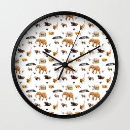 African Savanna Wildlife Pattern Wall Clock