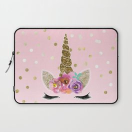 Floral Trendy Modern Unicorn Horn Gold Confetti Laptop Sleeve