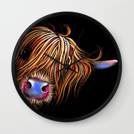 HiGHLaND CoW PRiNT SCoTTiSH ' SuGaR LuMP B ' BY SHiRLeY MacARTHuR Wall Clock