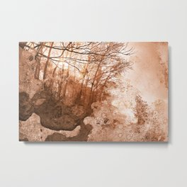 Acrylic Grunge Forest - Sepia Haze Metal Print
