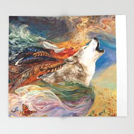 The spirit Wolf Abstract Throw Blanket