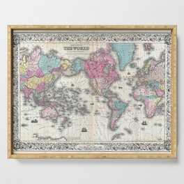 1852 J.H. Colton Map of the World Serving Tray