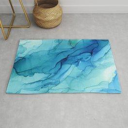 Emerald Sea Waves - Abstract Ombre Flowing Ink Rug