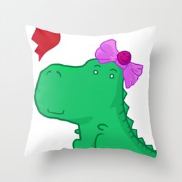 Dinogirl Throw Pillow