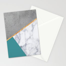 MARBLE TEAL GOLD GRAY GEOMETRIC Stationery Cards