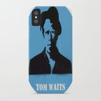 tom waits iPhone & iPod Cases featuring Tom Waits Record Painting by All Surfaces Design