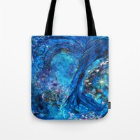 fairies Tote Bags featuring Fairies Paradise by Lily Nava Gallery Fine Art and Design