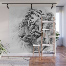 The mysterious eye of the tiger. WB. Square Wall Mural