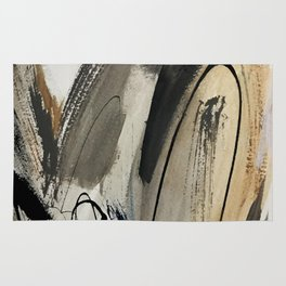 Drift [5]: a neutral abstract mixed media piece in black, white, gray, brown Rug