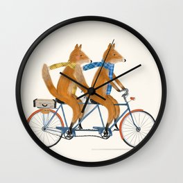 foxes lets tandem Wall Clock