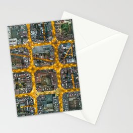 The grid of Barcelona at night Stationery Cards