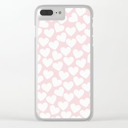 Pink & White - Valentine Love Heart Pattern - Mix & Match with Simplicty of life Clear iPhone Case
