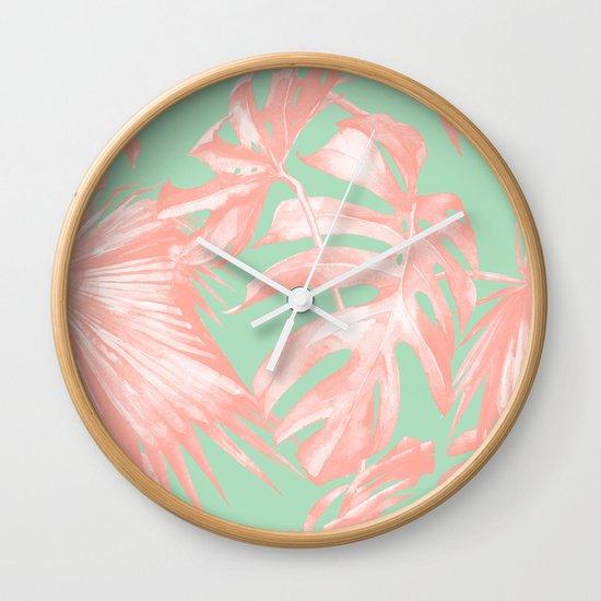 Island love seashell pink mint green wall clock by for Seashell wall clock