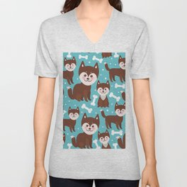 funny brown husky dog and white bones, Kawaii face with large eyes and pink cheeks blue background Unisex V-Neck