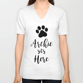 archie sits here dogs Unisex V-Neck