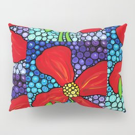 Lady In Red - Big bold beautiful Red poppy by Labor Of Love artist Sharon Cummings. Pillow Sham