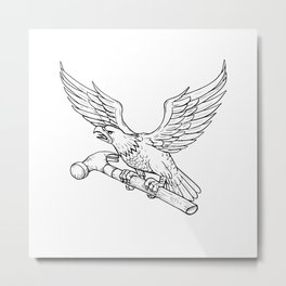 Eagle Clutching Hammer Drawing Metal Print