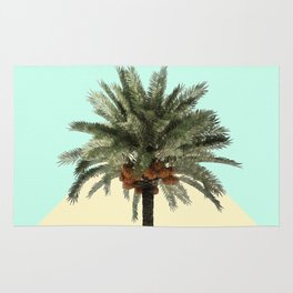 Palm Tree on Cyan and Lemon Wall Rug