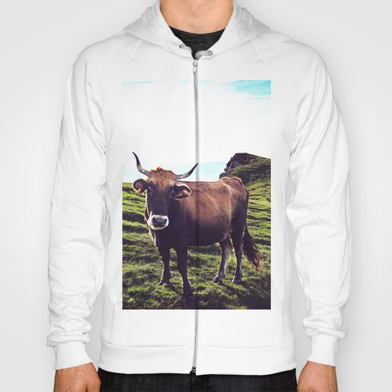 Cow in the Alps, Mountains Hoody
