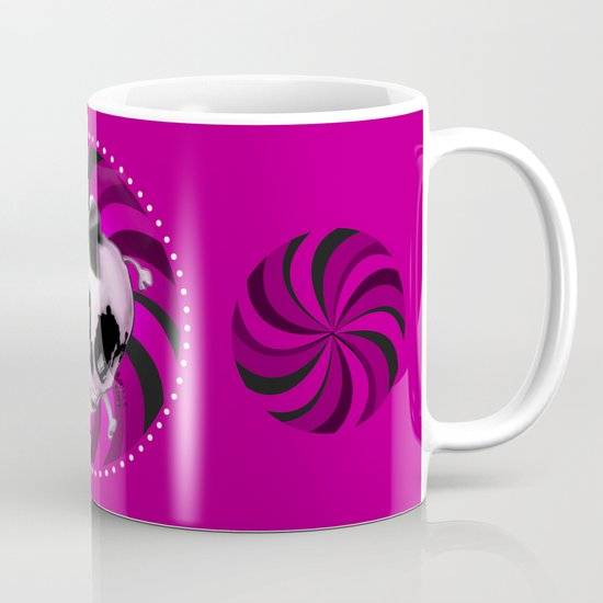 Girly Pink Skull with Black Bow Mug
