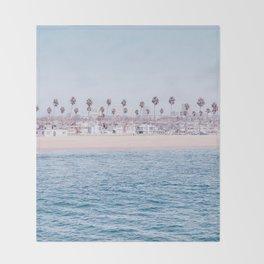 Vintage Newport Beach Print {3 of 4} | Photography Ocean Palm Trees Cool Blue Tropical Summer Sky Throw Blanket