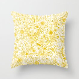 Yellow Floral Doodles Throw Pillow