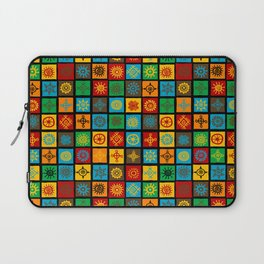 Colorful seamless background with ethnic symbols in squares Laptop Sleeve