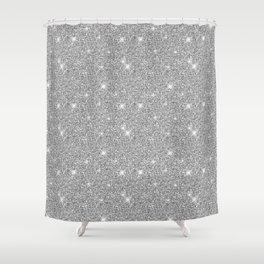Silver Shiny Stars Brilliant Sparkle Girly Grey Shower Curtain