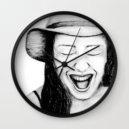 So Amused! Expressions of Happiness Series -Black and White Original Sketch Drawing, pencil/charcoal Wall Clock