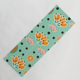 Summer flowers in mint Yoga Mat