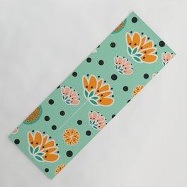 Summer flowers in mint Yoga Mat
