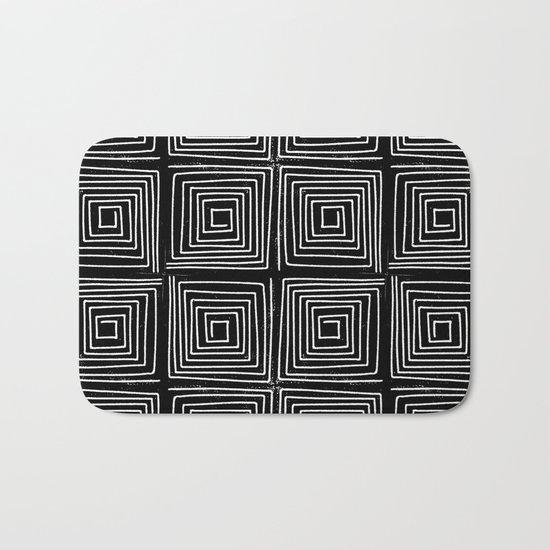 Minimal linocut printmaking geometric square maze pattern scandinavian minimalist Bath Mat