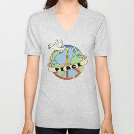 World Peace, Dove, Peace Sign, Earth Unisex V-Neck