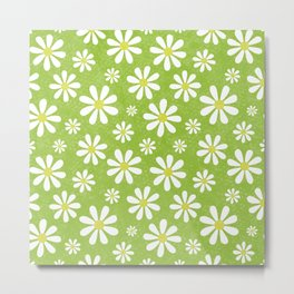 DAISIES ON APPLE GREEN Metal Print