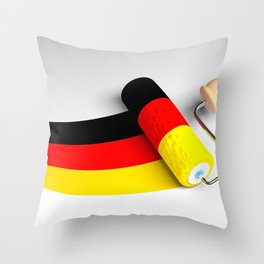 Roller paint brush giving to a white surface the colors of the german flag - 3D rendering illustrati Throw Pillow