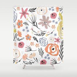 Floral Collage on White Shower Curtain