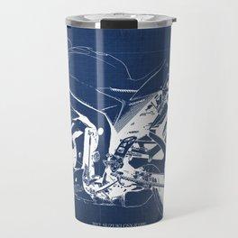 Suzuki motorcycle blueprint, white line, blue vintage background Travel Mug