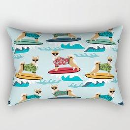 shiba inu surfing dog breed pattern Rectangular Pillow